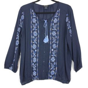 Lucky Brand boho embroidered top A0079